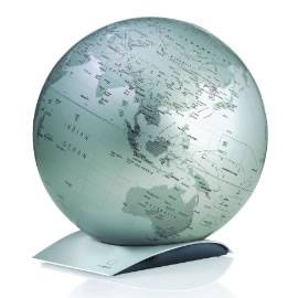 Silver Contemporary Desk Globe