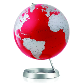 Red Contemporary Desk Globe