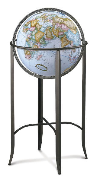 An impressive floor globe with metal base